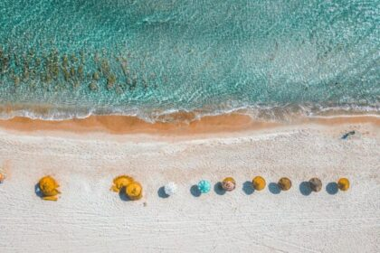 aerial view photography of umbrellas on shore